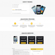 Bootstrap template for mobile unlocking services.